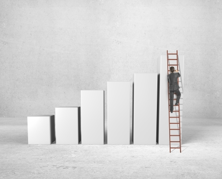 businessman climbing on ladder and busines chart photo