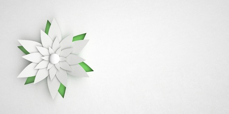 xmas crafts: abstract paper flower on white background Stock Photo