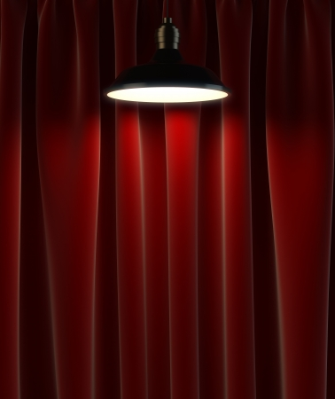 home theatre: lamp and red curtains, 3d render
