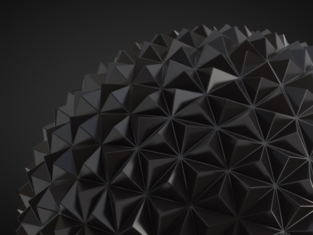 black abstract low poly geosphere