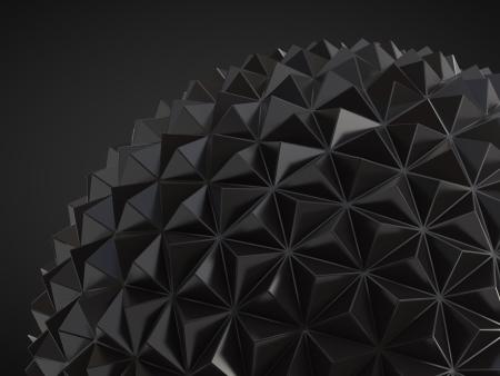 geosphere: black abstract low poly geosphere