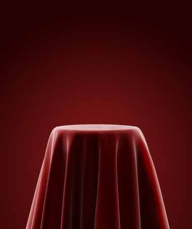 tela seda: pedestal de presentación cubierto con tela de seda azul