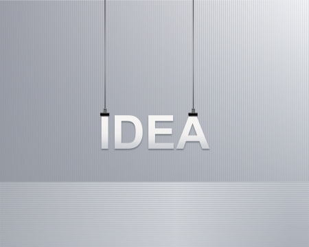 text idea is suspended on a rope