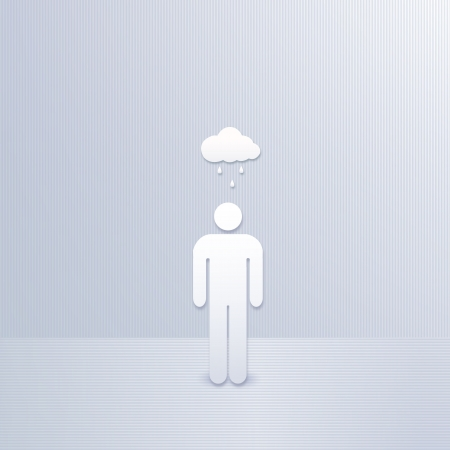 abstract man with cloud and rain