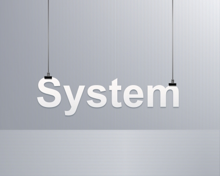 innovation word: system text  is suspended on a rope Illustration