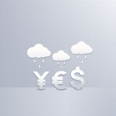 three symbol of yen, dollar and euro and cloud