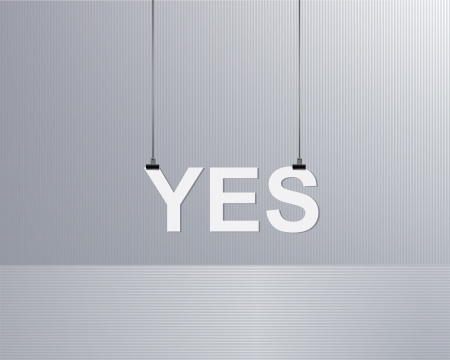 innovation word: text yes is suspended on a rope Illustration