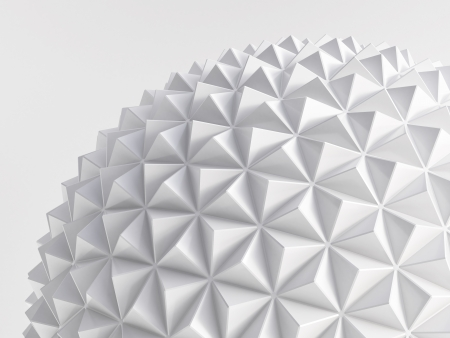white abstract low poly geosphere Stock Photo