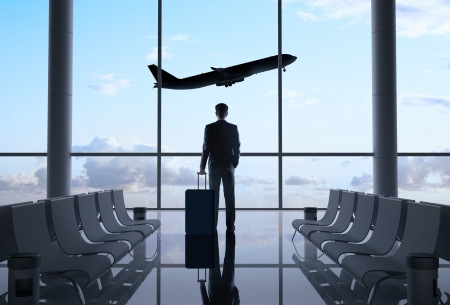 man in airport and airplane in sky Stock Photo - 20280418