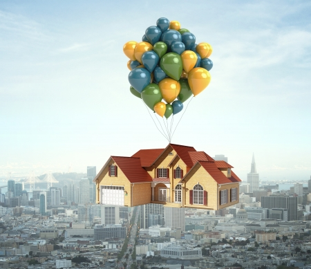 village house: house flying over city on balloons