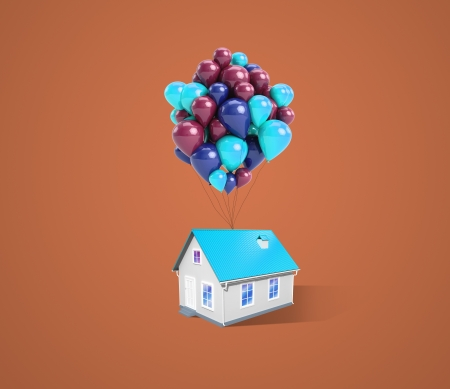 house and balloons on a blue background Stock Photo - 20416859