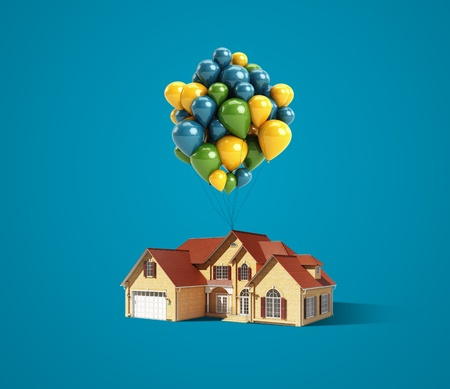house and balloons on a blue background photo