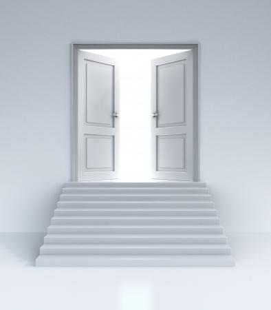 open doors: fuente de luz detrás de puertas abiertas
