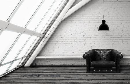 plafond: loft with window and leather chair