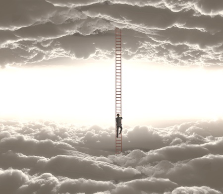 above view: businessman climbing o ledder from cloud to cloud