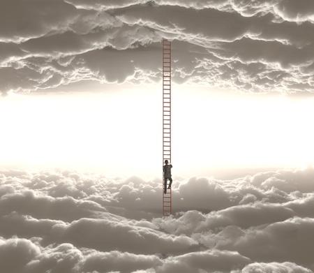 personen: zakenman het beklimmen o ledder van wolk tot wolk