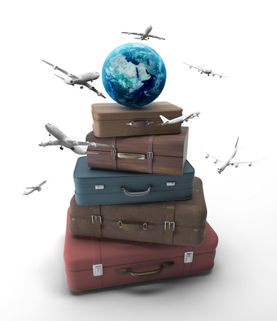 antique suitcase: travel bags with earth and airplanes
