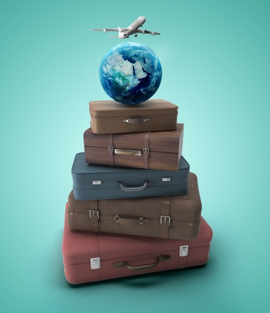 travel bags with earth and airplane photo