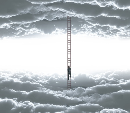 climbing frame: businessman climbing o ledder from cloud to cloud