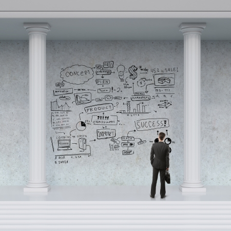 businessman looking at business strategy on wall photo