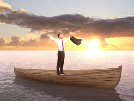 businessman standing on a boat photo