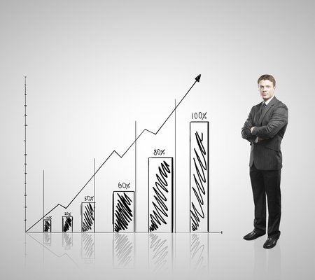 businessman standing and drawing graph on wall photo