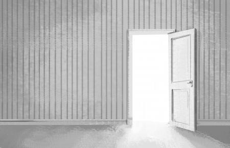 puertas de madera: la sala de estar gris con la puerta abierta