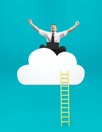 happiness man sitting on cloud with ledder Stock Photo - 20523169
