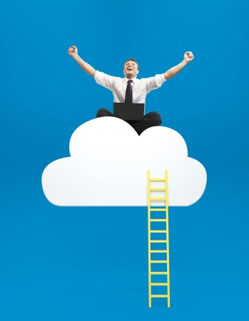 happiness businessman sitting on cloud with ledder Stock Photo - 20523159