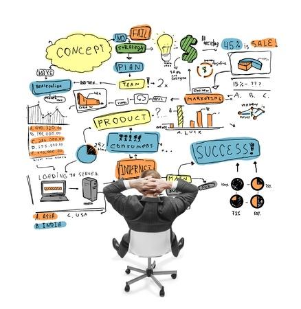 lluvia de ideas: relajarse businnessman sentado en la silla y mirando a la estrategia de negocio de dibujo