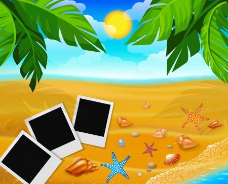 three photo on sand beach 矢量图像