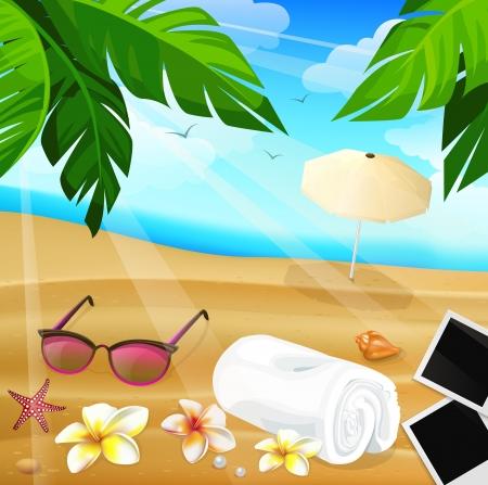 collage on sand beach, illustration