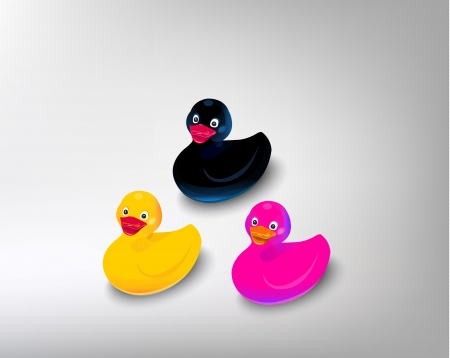 infant bathing: color duck isolated on white background.