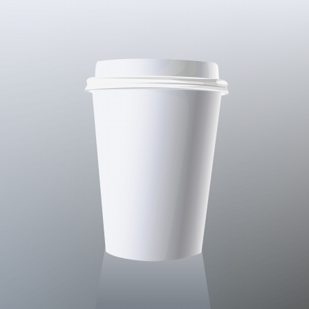 disposable cup of coffee on gray background