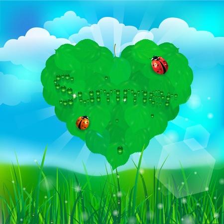 green heart on green grass background