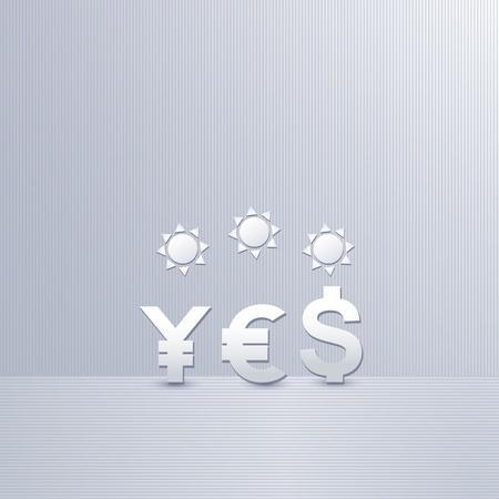 three symbol of yen, dollar and euro