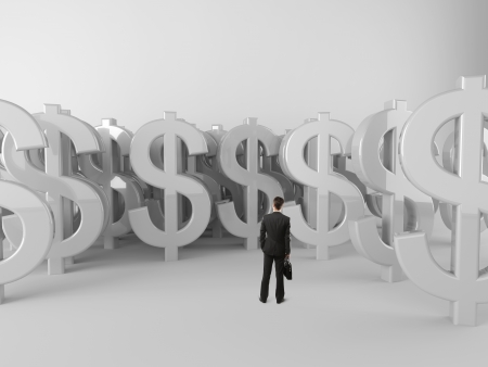 businessman with briefcase looking at dollar symbols photo