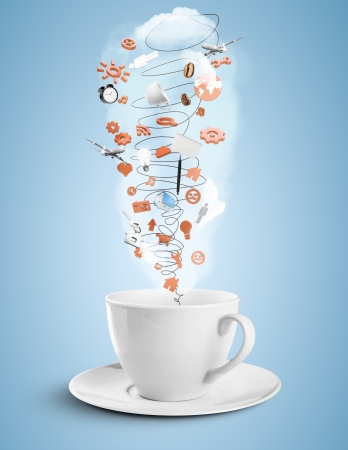 food research: cup with social hurricane on blue background Stock Photo