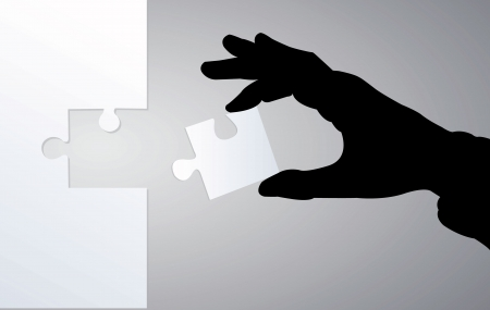 hand collect puzzle, black and white photo