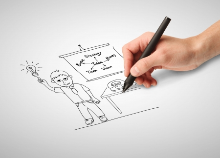 hand drawing businessman in office photo