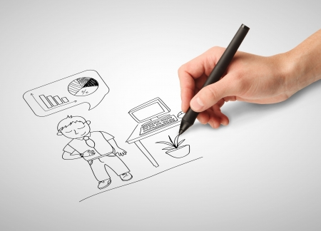 hand drawing businessman on white paper photo