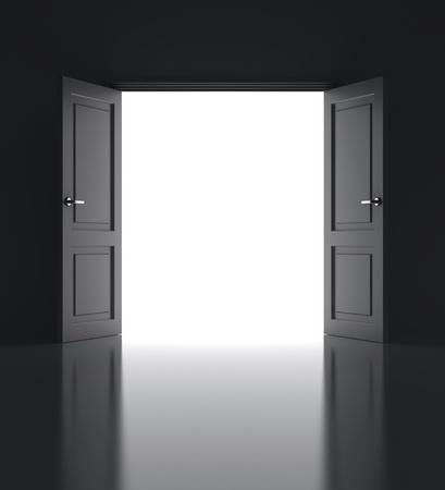 abriendo puerta: puertas abiertas en la pared blanca