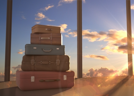 duffel: travel bags and blue sky
