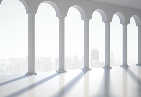 white classic hall, 3d render photo