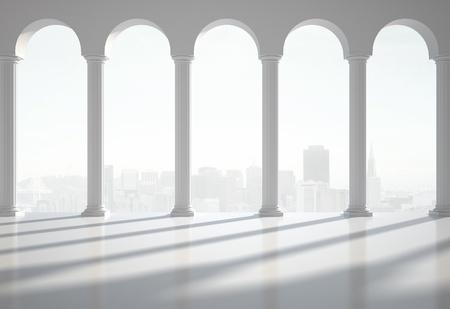 grecian: white classic interior with column