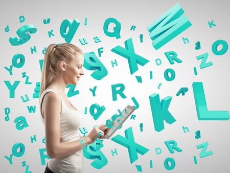 letter head: girl holding tablet with many letters Stock Photo