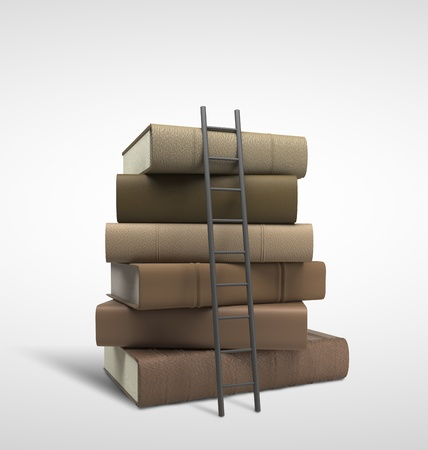 bookstore: stack of books and ladder Stock Photo