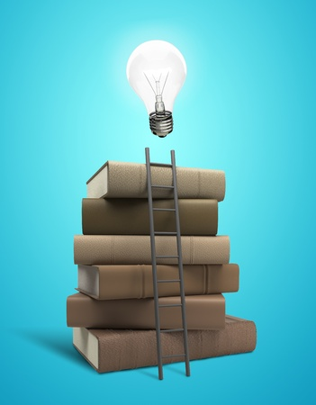 hardcovers: stack of books with lightbulb and ladder
