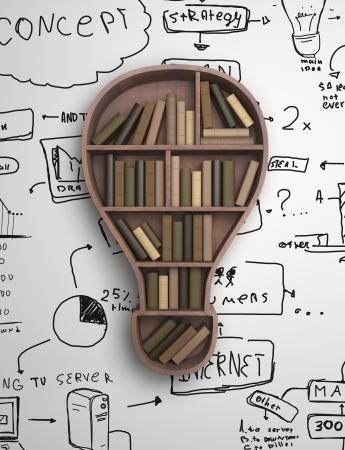 biblioteca: estante de libro en forma de l�mpara de amd concepto de dibujo Foto de archivo