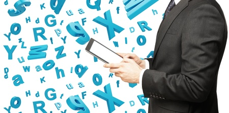 businessman holding toch pad with letters photo